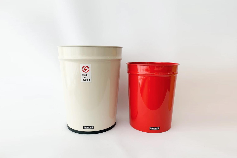 Metal Bunbuku Trash Bins White and Red