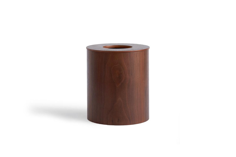 Saito Wood Co. Walnut Paper Waste Basket Cutout Lid