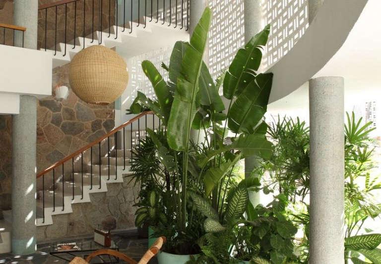 hotel boca chica acapulco mexico lobby plants stone floor