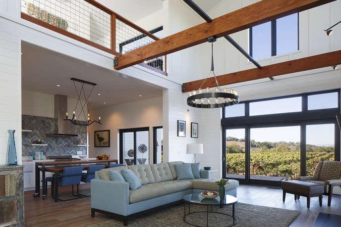 Modern farmhouse living room and loft by Amy Alper