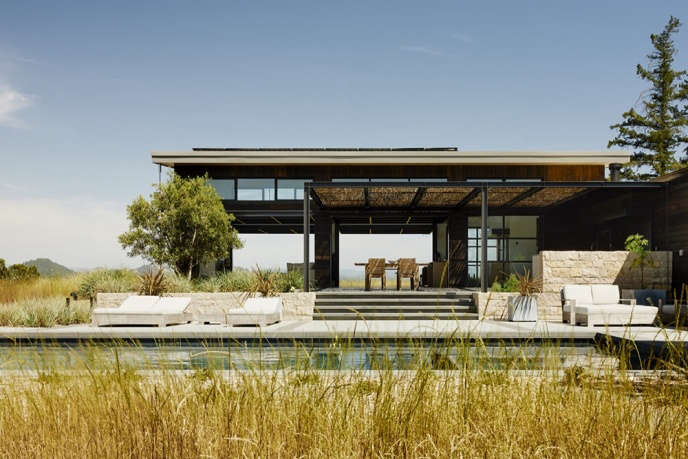 Inspired by the Land, Arterra Landscape Architects. View across the pool through the pavilion-like interior