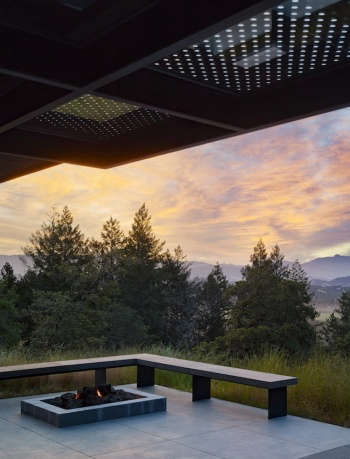 The firepit sits above the lights of Healdsburg