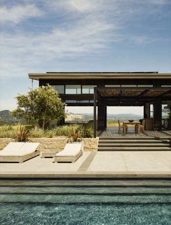 Pool, seating and outdoor dining