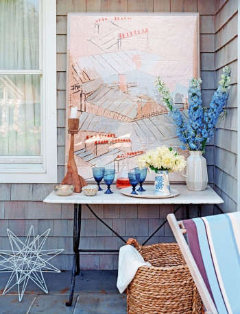 hamptons water color out side picture glasses