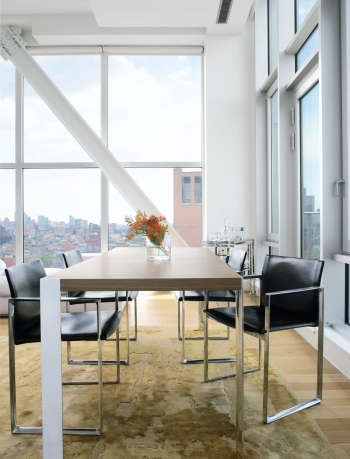 magdalena keck interior design bowery penthouse dining area