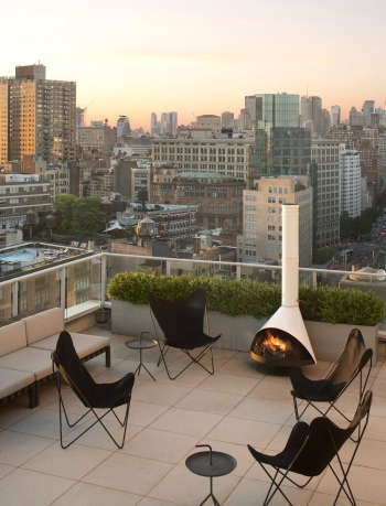 outdoor roof garden bowery nyc penthouse by Jeff Cate