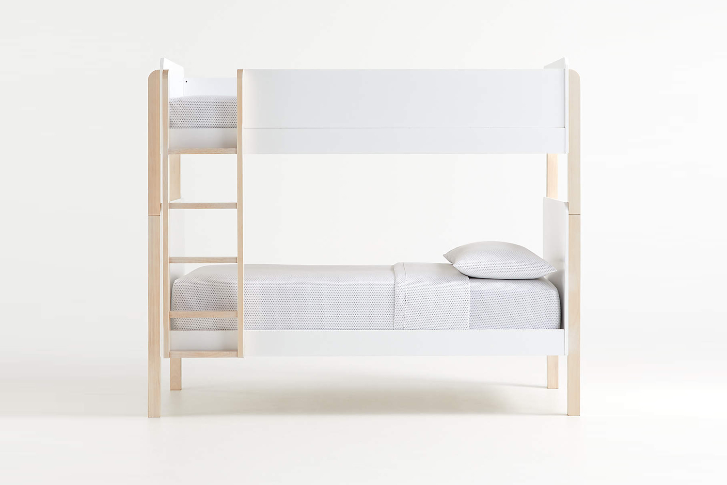 Crate & Barrel Babyletto White Washed Natural Bunk Bed