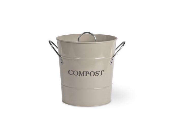 compost bin with nickel plated handles