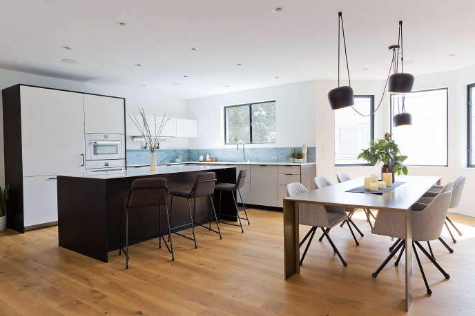 Modern kitchen and bathroom renovation by Gamble + Design.