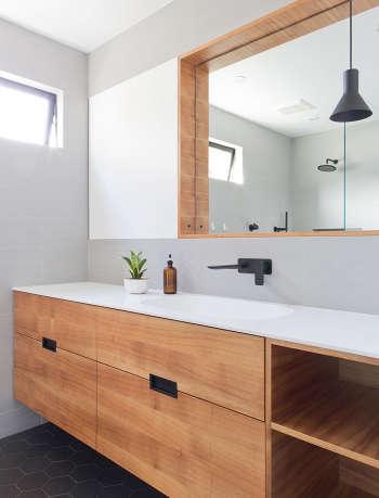 Modern bathroom renovation by Gamble + design.