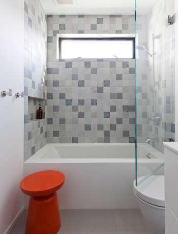 Modern tile bathroom by Gamble + design.