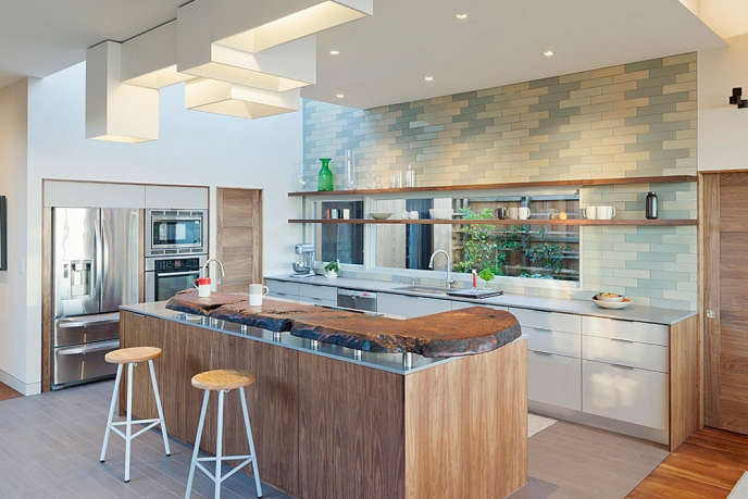 Kitchen with natural wood counter at Sea Ranch by Gamble + Design.