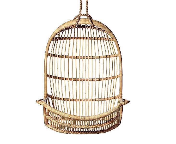 hanging-chair-rattan-gardenista - 10 Easy Pieces: Hanging Chairs - Gardenista