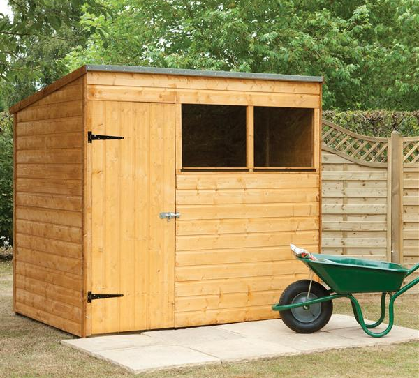 above a 7 by 5 foot timber pent roof garden shed is sided with tongue and groove panels to prevent rot and water damage it comes with a 10 year guarantee - Garden Sheds Wooden