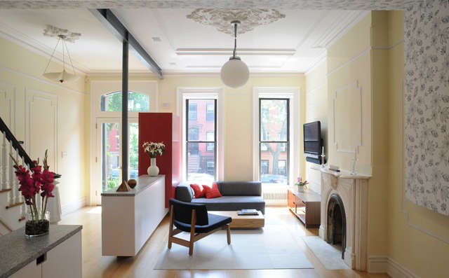 Park Slope Brownstone: PARK SLOPE BROWNSTONEJCA transformed this dilapidated brownstone into a light-filled home.Our design features a parlor floor that gathers the homes social spaces in one grand room. New elements such as freestanding storage cabinets, and a playful canopy that wraps the dining areas walls and ceiling, are contrasted with preserved original details. The garden floor contains the home office and master bedroom suite, while on the top floor, childrens bedrooms flank a bathroom and play area.