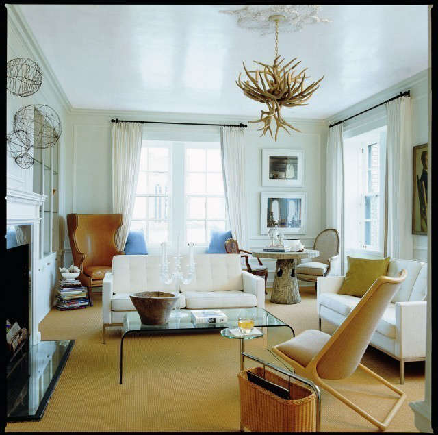 Minneapolis Apartment Eclectic Living Room &#8\2\1\1; The white Venetian plaster ceiling enhances the light, airy feeling of this living room.