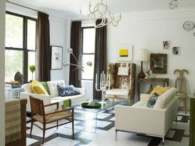 Manhattan Apartment Eclectic Living Room &#8\2\1\1; This living room features an eclectic mix of eclectic styles accented with a boldly graphic floor.