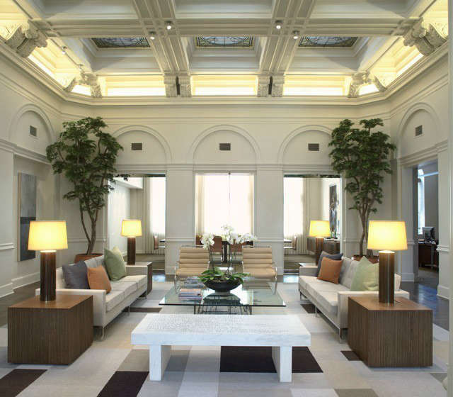 Family Foundation Modern Lobby &#8\2\1\1; The elaborate coffered ceiling with stained glass skylights contrasts with the simplicity and clean lines of the furnishings below in this office lobby