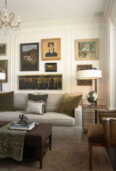Old World Apartment Traditional Study &#8\2\1\1; The client&#8\2\17;s collection of paintings adds interest and personalizes this study.