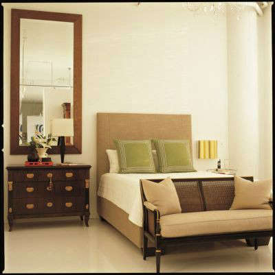 White Loft Modern Bedroom &#8\2\1\1; The full height mirror over the nightstand adds drama to this high ceiling bedroom.