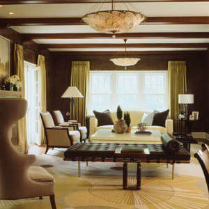 Updated Tudor modern Living Room &#8\2\1\1; The dark walls draw you in to this comfortable living room.