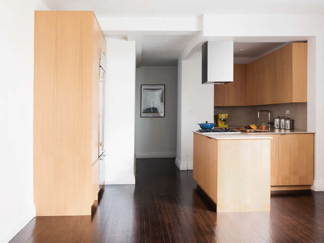 an open kitchen in Murray Hill: A beautifully appointed modern kitchen, open to the apartment, brings much needed light. Photo: Alice Gao