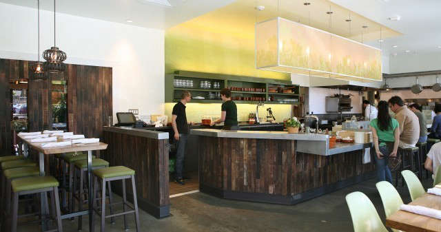 Nopalito Restaurant: Nopalito restaurant, named \2009 Best New SF restaurant by SF Weekly and Esquire Magazine, features zinc countertops, red wine soaked oak staves on the bar front, and a modern, atypical Mexican restaurant feel. The \1300 sf dining space features a custom high communal table. All tables and wood benches are from a single fallen oak from the Sierra foothills. Photo: eurydice galka