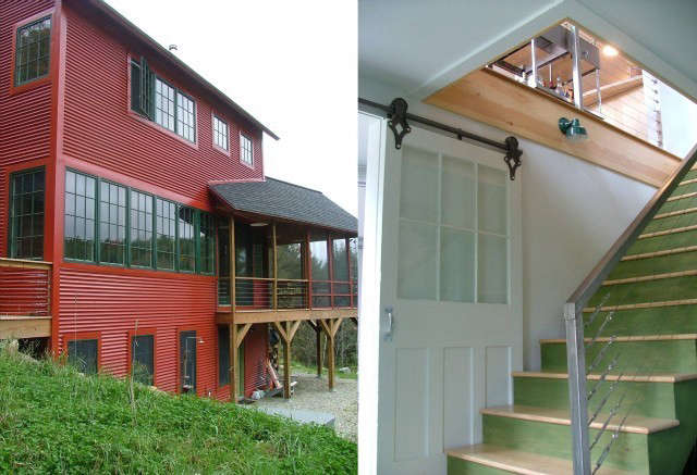 Egan House, Sugar Hill, NH: Located on a steep site and built for clients with a tiny budget and a wonderful sense of adventure. Color and inexpensive materials such as corrugated steel siding, bamboo flooring, sliding barn doors, inexpensive cable railings, and painted stairs, were used inventively throughout. Photo: Click here for more photos