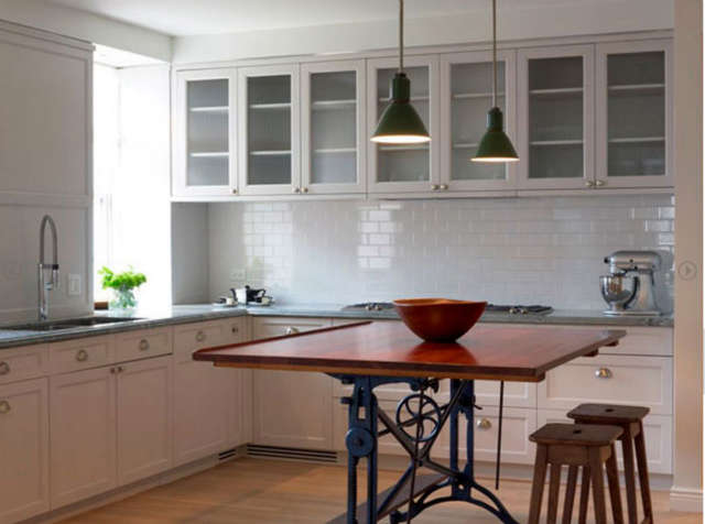 West Village Kitchen &#8\2\1\1; We used a vintage drafting table instead of an island&#8\230;.