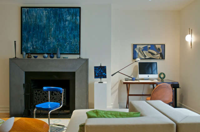 Sutton Place Fireplace &#8\2\1\1; A fireplace made out of concrete. Custom designed by \2Michaels.