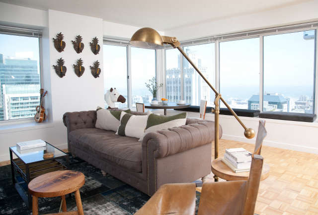 San Francisco Penthouse: This downtown penthouse is kind of the ultimate SF bachelor pad. The owner had no furniture so we got to start completely from scratch. The custom art in this space is really exciting, especially the eye-catching mural on his bedroom wall.