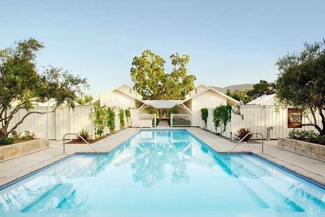 Solage Spa Pool & Bathhouse &#8\2\1\1; Pool and bathhouse within the Solage Calistoga resort.