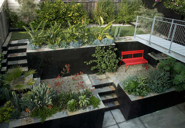 Potrero Hill garden: Daniel Nolans exuberant planting design revels in the strict framework of a modern house design by SFOSL on San Franciscos Potrero Hill.