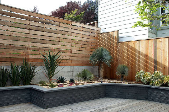 Succulent beds surround a deck &#8class=