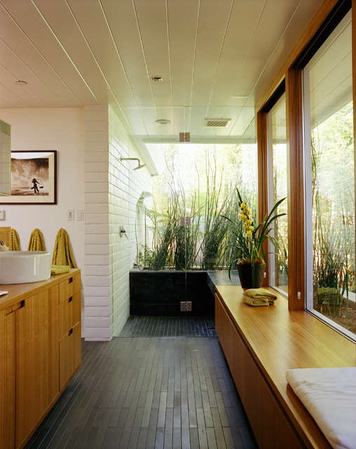 Belvedere shower: A glass enclosed shower is like stepping outside. Photo: Todd Hido