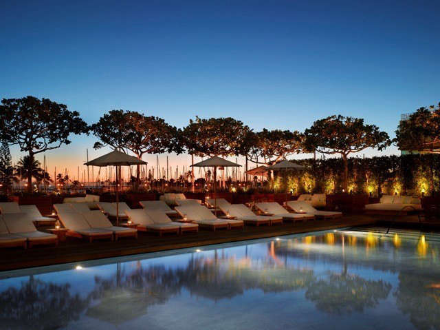 Waikiki Marriott Edition Hotel: The silhouettes of indigenous autograph trees are reflected in the Sunrise Pool of the Edition Hotel. Photo: © Nikolas Koenig