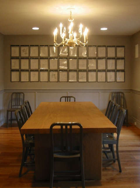 Maxey Pond Road House, Nantucket, MA: When we found this stash of \1950&#8\2\17;s drawings from a Yale architecture student, we knew that standard framing would be prohibitively expensive. Instead, we used factory ticket holders to display them.