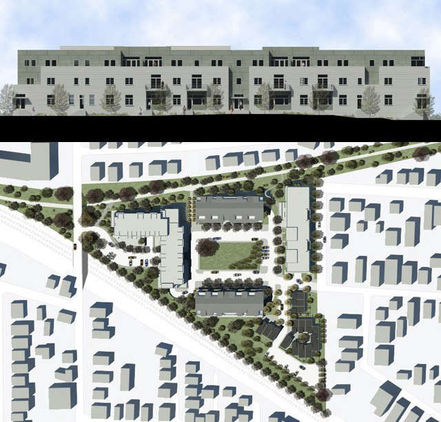 Maxpac Square, Sommerville MA: Masterplan of \2\10 units on 6 acres old factory site, including design of 6 apartment buildings.