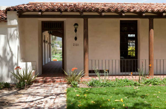 Entrance to La Mesa Residence &#8\2\1\1; Traditional entrance to adobe house in the spanish colonial style.