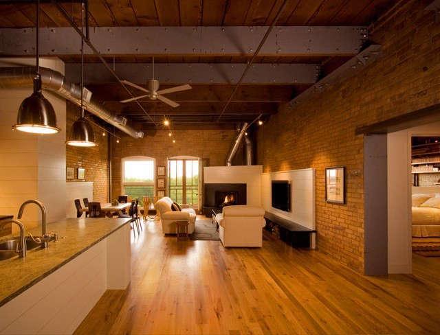 Historic Modern Loft: Overall view of main floor living spaces in historic modern loft Photo: Dana Wheelock