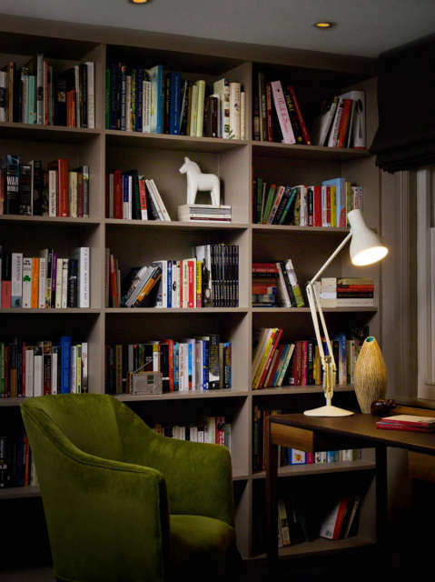 London home: Custom designed shelving within a study and adjoining book room Photo: Chris Tubbs