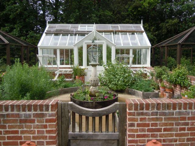 Kitchen garden and greenhouse, Surrey, England