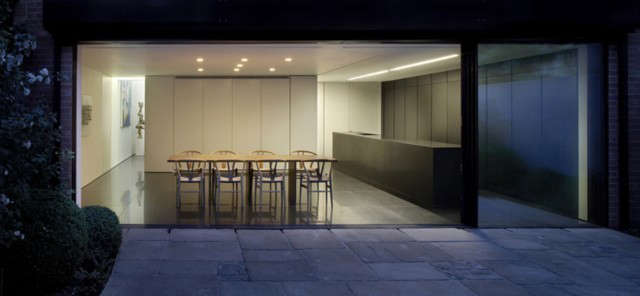 Private Residence, Chelsea London: The property has been totally remodelled to provide flexible open plan living space on two floors and five bedrooms. The ground floor rear wall has been removed over the entire width to open onto the garden.
