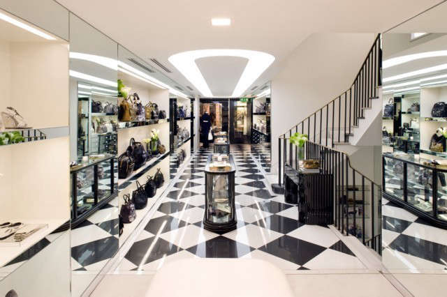 Anya Hindmarch, Bond Street: The store was designed to mirror the Anya Hindmarch sophisticated style and attention to detail. Due to the historical fabric that exists within the building, a number of period features have been restored, including Georgian fireplaces and a Frieze mirror. Photo: