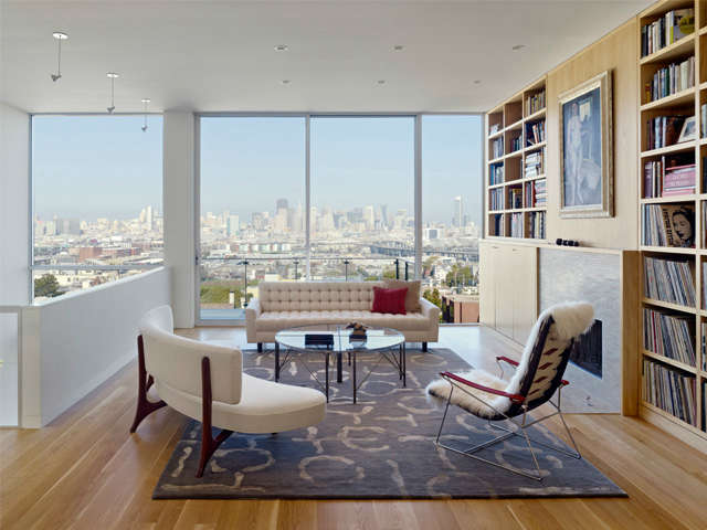 \20th Street Project: Rich woods and white walls contain this spectacular San Francisco view. Photo: Cesar Rubio