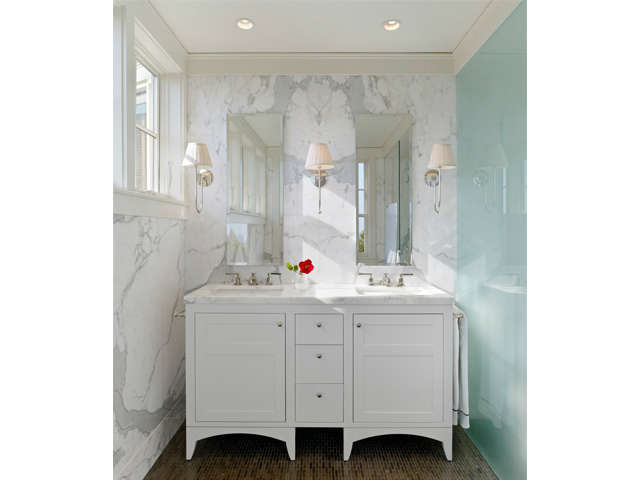 Castro Street Residence: Marble walls and daylight animate this classic bathroom renovation. Photo: Bruce Damonte