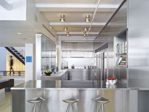 Murphy Burnham & Buttrick Architects, New York Loft, stainless steel kitchen | Remodelista
