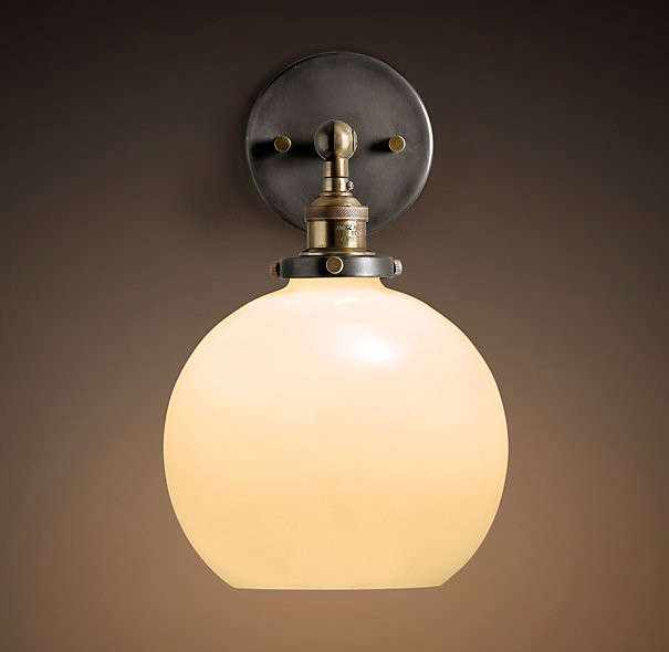 Bathroom Lighting Remodelista: 20th C. Factory Filament Milk Glass Café Sconce: Remodelista