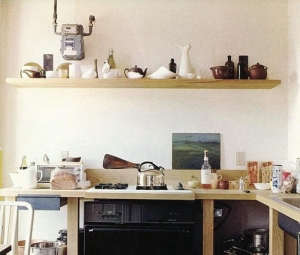 wood shelving in kitchen