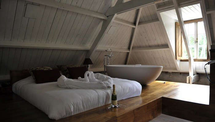 above a loft bedroom at the hotel restaurant groot warnsborn in the